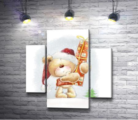 Медвежонок с новогодним подарком
