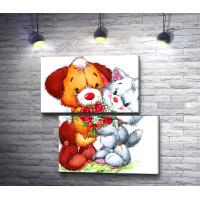 Собачка и кошечка с цветами