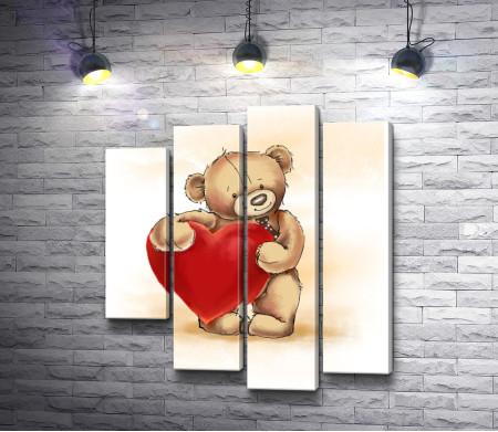 Мишка держит в руках сердце