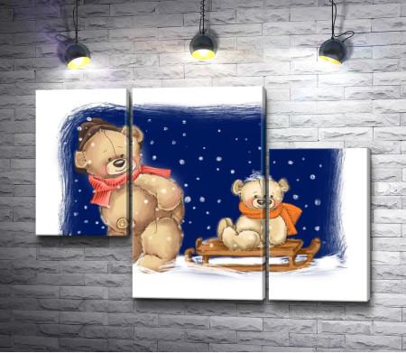 Папа медведь катает ребенка на санках