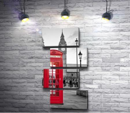Красная телефонная будка на фоне Биг Бена в черно-белых тонах. Лондон