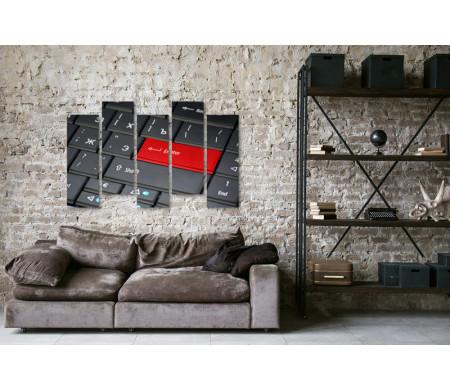 Черно-белая клавиатура с красной клавишей