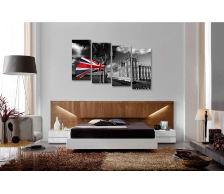 Флаг Великобритании на фоне архитектуры Лондона в черно-белой гамме