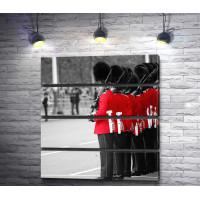 Гвардейцы королевского двора, Лондон, черно-белое фото с цветным акцентом