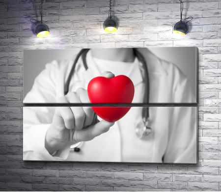 Доктор держит в руках игрушку-сердце, черно-белое фото
