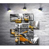 Коллаж из черно-белых фото с желтыми машинами