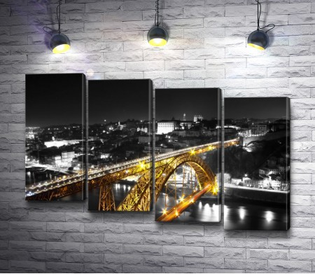 Золотой мост на черно белом фоне, Португалия