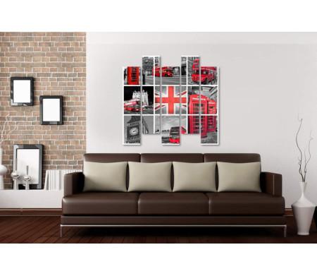 Фотоколлаж достопримечательностей Лондона в черно-белой гамме с цветными вкраплениями