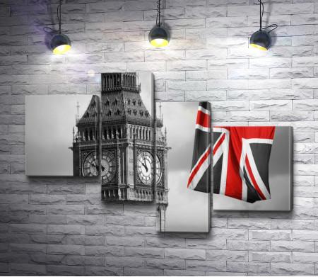 Развевающийся флаг Англии около Биг-Бена, Лондон