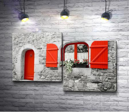 Красные двери в доме из камней