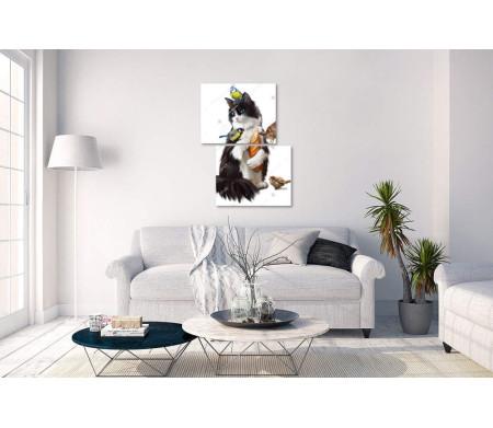 Кот с батоном и птички