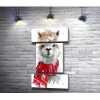 Маленькая лама в красном шарфике