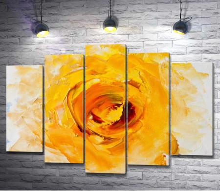 Желтая акварельная роза
