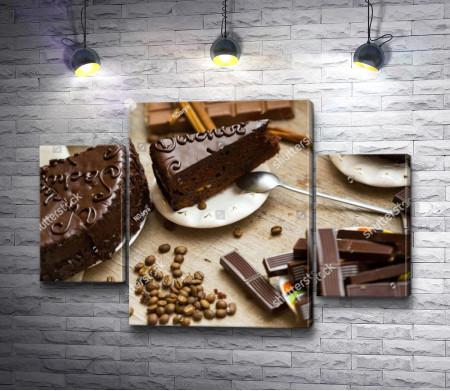 Шоколадный торт и кофейные зерна
