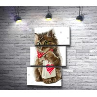 Котенок с любовным подарком