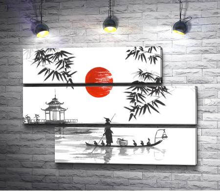 Традиционная Япония. Черно-белый пейзаж