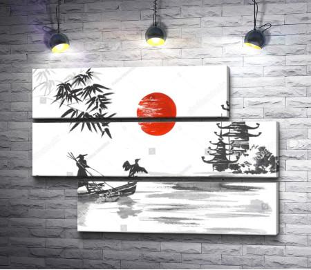 Черно-белый пейзаж с красной луной. Япония