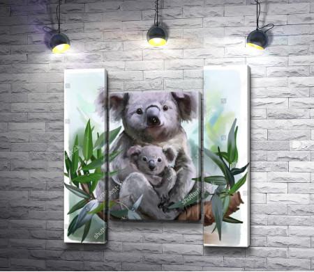 Мама-Коала со своим детенышем на дереве