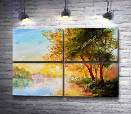Весенний лес: закат у реки