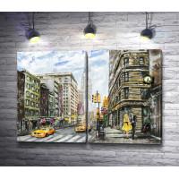 Желтые такси и влюбленная пара на улицах Нью-Йорка