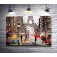 Вечерние улицы Парижа с видом на Эйфелеву башню