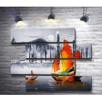 Оранжевый парусник на побережье черно-белого Гонкконга