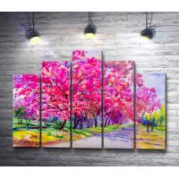 Аллея с розовыми вишневыми деревьми