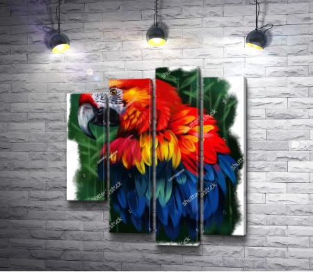 Яркий попугай в зеленой листве