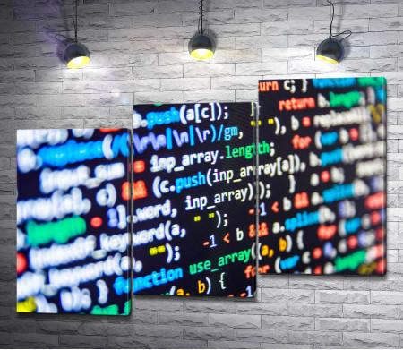 Код программирования на экране компьютера