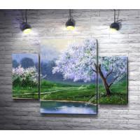 Весенний ландшафт с цветущими деревьями