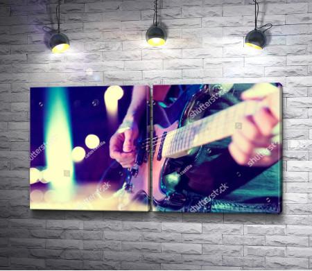 Рок-гитарист. Винтажный снимок