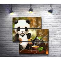 Панда и чай с печеньем