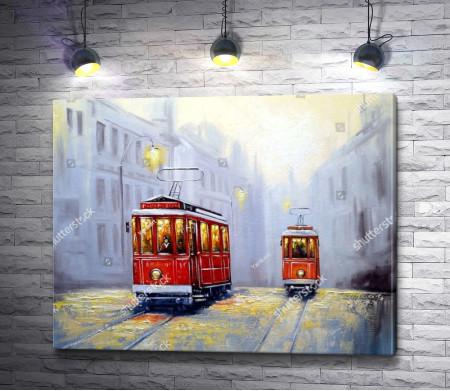 Трамваи на улицах старого города