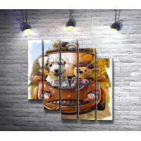 Автопутешественники: щенок и медвежонок