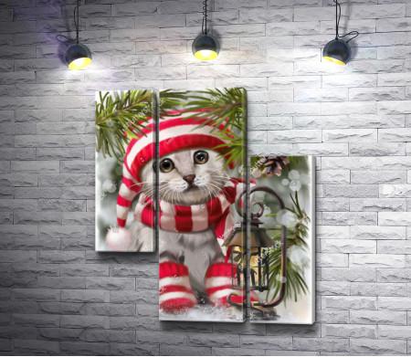 Белый кот в шапке и носках под елкой