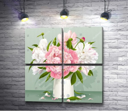 Розовые и белые пионы в вазе