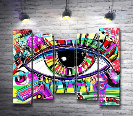 Глаз в разноцветной абстракции