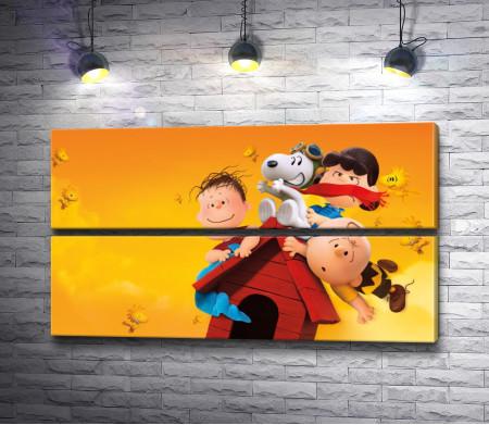 """Дети и собака, постер из мультика """"Снупи и мелочь пузатая"""""""