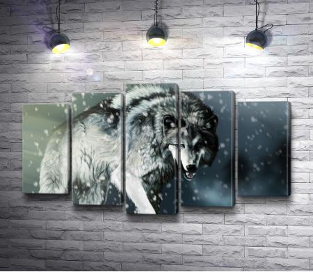 Волк во время снегопада