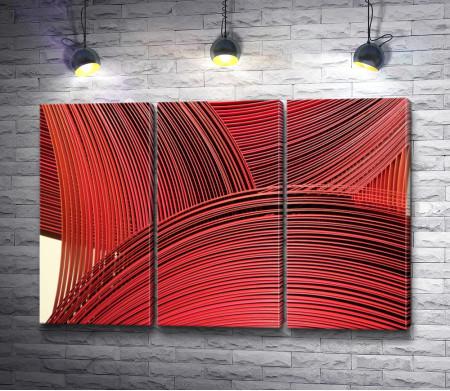 Красные прутья, абстракция