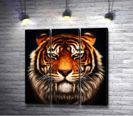 Голова тигра на черном фоне