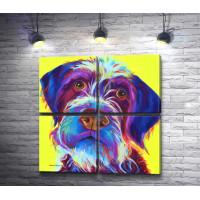 Фиолетовый пес на желтом фоне