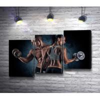 Парень и девушка на фитнес тренировке