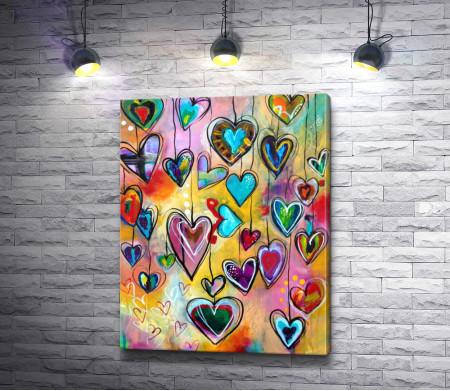 Разноцветные сердца на счастье