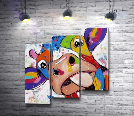 Веселая разноцветная корова