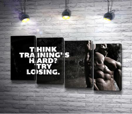 Бодибилдинг. Мотивационный плакат в черно-белой гамме