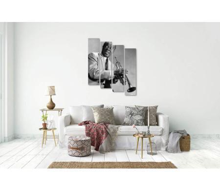 Джазмен Луи Армстронг - черно-белый снимок