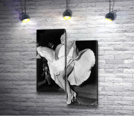 Мэрилин Монро и улетающее платье. Черно-белое фото