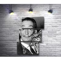 Сальвадор Дали с котом на черно-белом снимке
