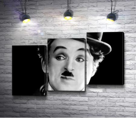 Великий немой Чарли Чаплин.Черно-белый снимок